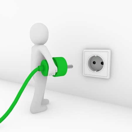 prise de courant: 3D man Plug-and-socket vert bio puissance �nerg�tique