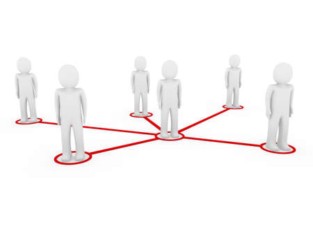 contacts group: 3d men network social red people connection teamwork Stock Photo