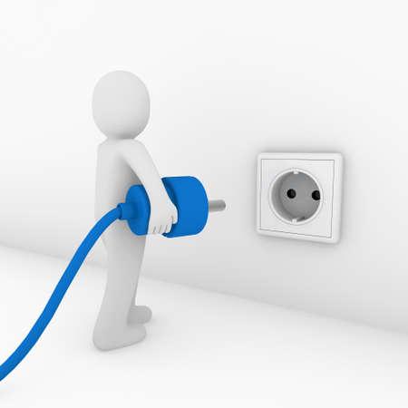 socket: 3d man plug socket blue energy bio power