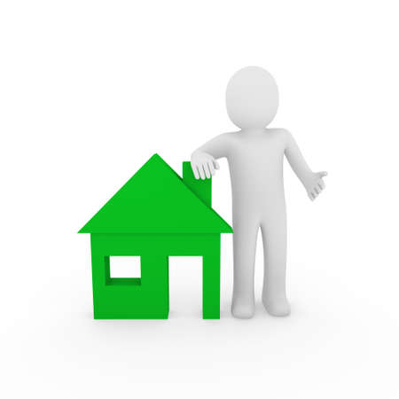 head home: 3d man house green home energie save estate Stock Photo
