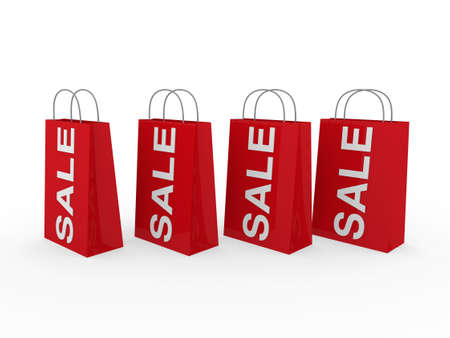 3d sale bag red retail shopping discount buy Stock Photo - 9611984