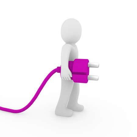 3d human man plug purple cable socket power Stock Photo - 9759158