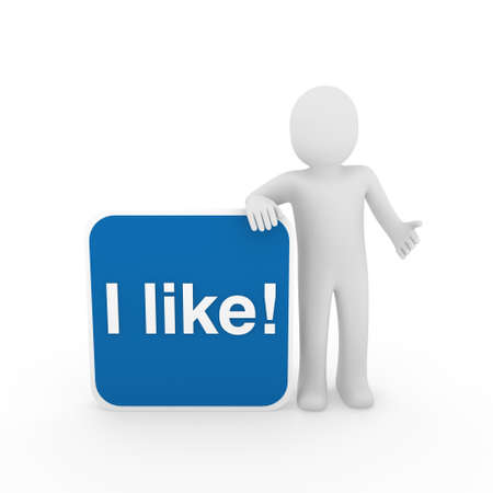 i like: 3d human man i like button blue social