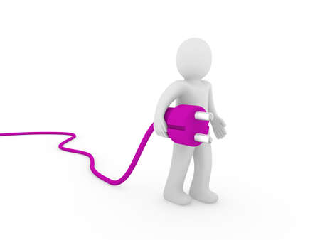 3d human man plug purple  cable socket power Stock Photo - 9759170