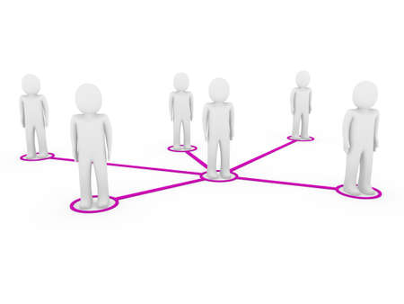 3d men network social purple people connection teamwork photo
