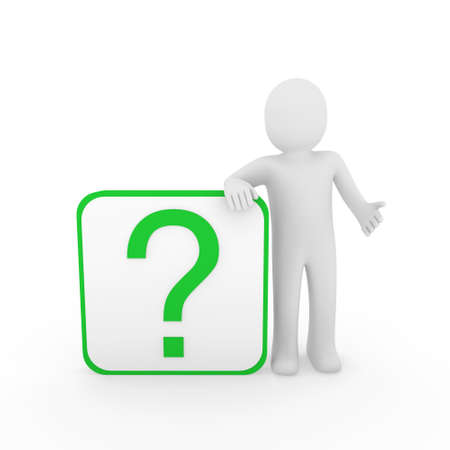 why: 3d man human question mark green cube think Stock Photo