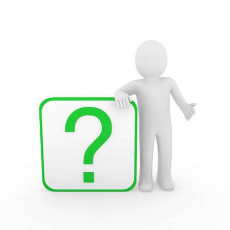 think green: 3d man human question mark green cube think Stock Photo
