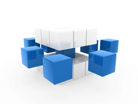 disorganization: 3d cube blue white square business concept puzzle Stock Photo