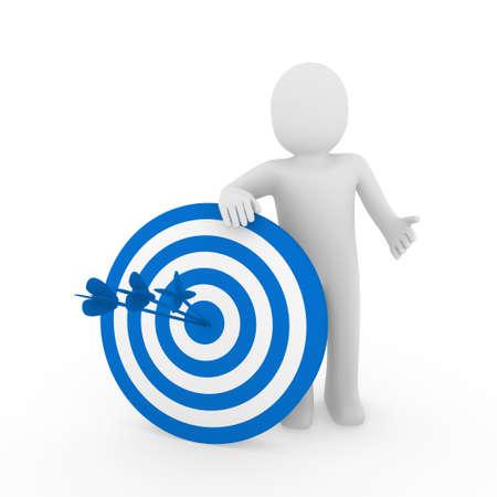 target arrow: 3d human man target center success blue business Stock Photo