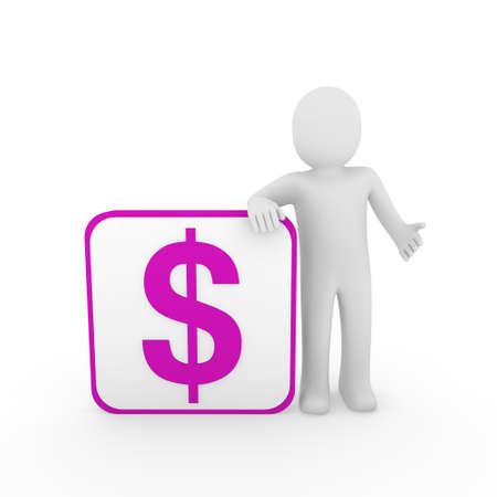 3d human man dollar purple finance money currency Stock Photo - 9759192