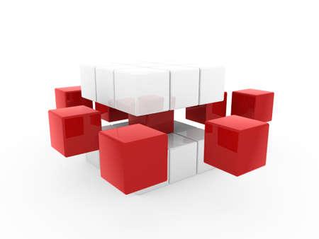 disorganization: 3d cube red white square business concept puzzle