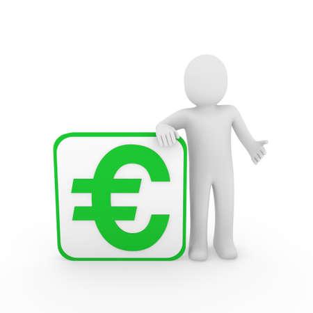 euro: 3d man human euro green money business finance