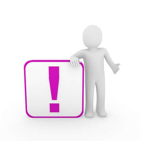 3d man human purple exclamation mark surprise cube photo