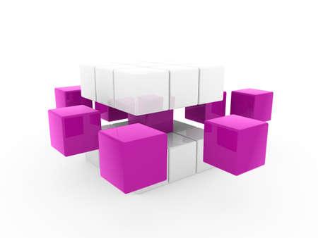 disorganization: 3d cube purple white square business concept puzzle Stock Photo