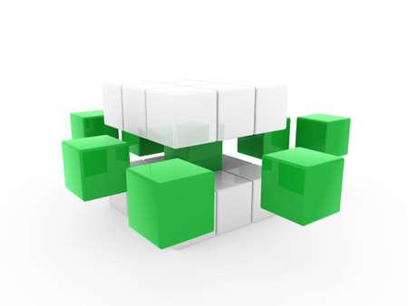 disorganization: 3d cube green white square business concept puzzle