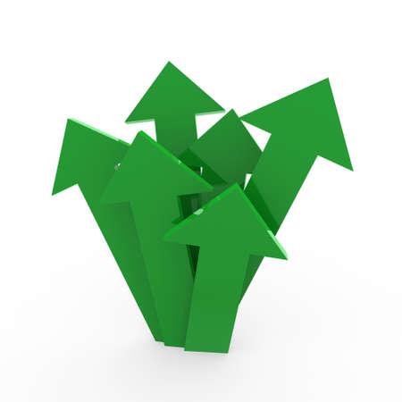 3d arrow high green chart business success win photo