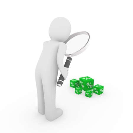 3d man search sale green magnifying glass seek photo
