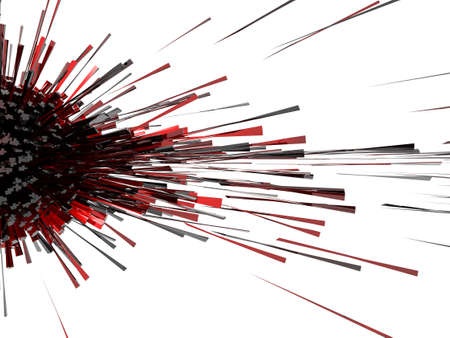 explode: 3d abstract explosion red black cube light effect