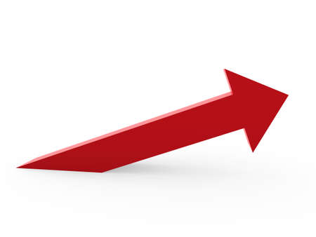 red arrow: 3d arrow red up success high growth Stock Photo