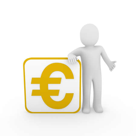 3d man human euro gold money business finance Stock Photo - 10046845