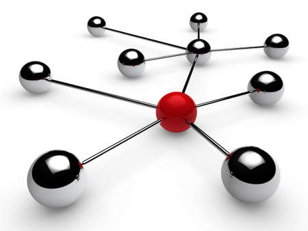 3d, red, chrome, ball, network, communication, white