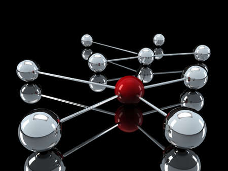 3d, red, chrome, ball, network, communication, black photo