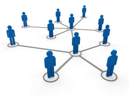 3d blue social network community men team
