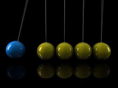 3d, yellow, blue, pendulum, chrome, network, black Stock Photo - 10134675