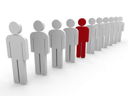 distinguish: 3d team leader boss company red teamwork Stock Photo