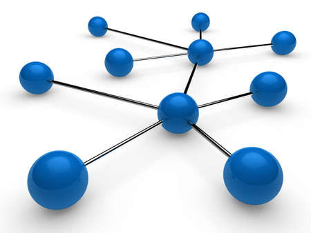 3d blue chrome ball network communication white Stock Photo - 10291049