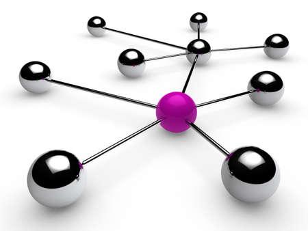 intercommunication: 3d, purple, chrome, ball, network, communication, white