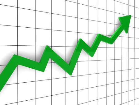 sign holder: 3d, graph, arrow, green, success, finance, diagram