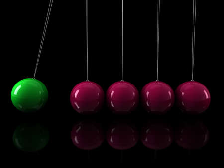 3d, green, pink, pendulum, chrome, network, black Stock Photo - 10291032