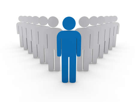 employee development: 3d team leader boss company blue teamwork Stock Photo