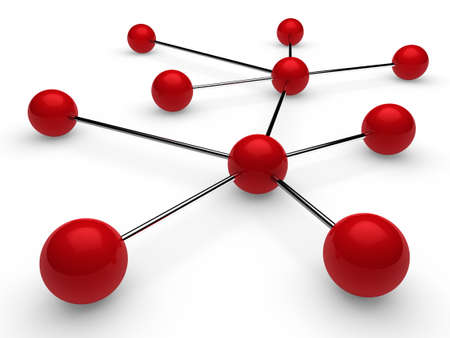 social networking: 3d red chrome ball network communication white