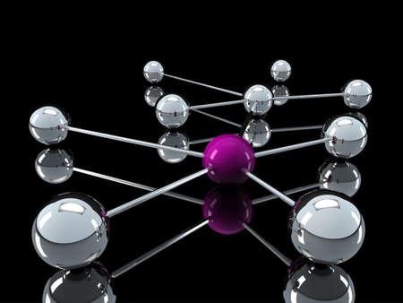chrome ball: 3d, purple, chrome, ball, network, communication, black