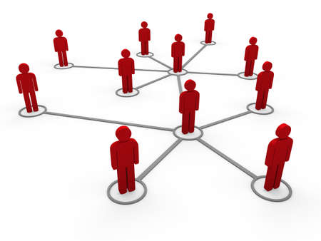 social system: 3d red social network community men team