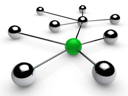 intercommunication: 3d, green, chrome, ball, network, communication, white