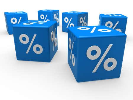 3d cube blue sale discount retail percentage photo