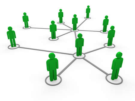 business relationship: 3d green social network community men team