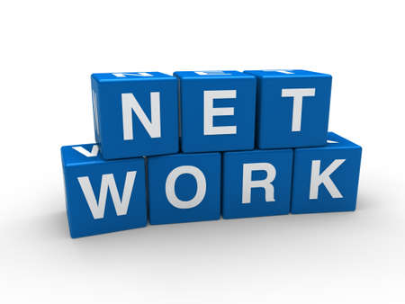 connect people: 3d network blue internet cube teamwork networking
