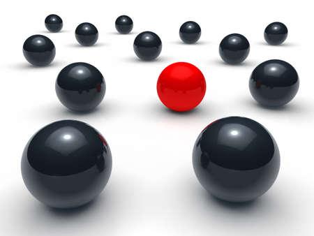 3d ball network red black sphere team photo