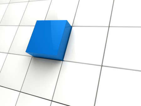 light box: 3d cube blue white area square abstract