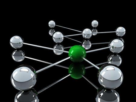 intercommunication: 3d, green, chrome, ball, network, communication, black