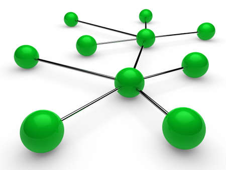 connectivity: 3d green chrome ball network communication white