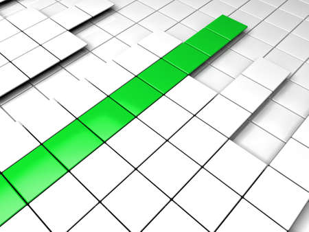 3d background cube green white success graph photo