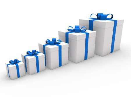 big boxes: 3d gift box ribbon blue white birthday
