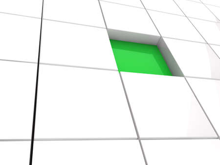 3d cube green white area square abstract Stock Photo - 10362975
