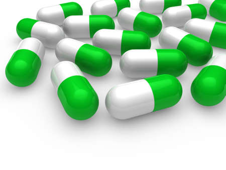 antibiotic white: 3d, pill, green, white, medicine, capsule, tablet Stock Photo