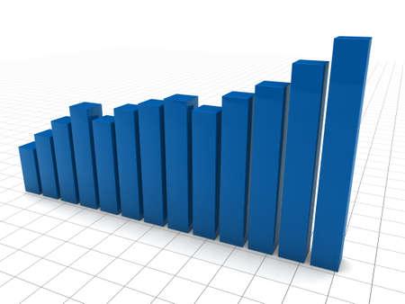 3d graph blue diagramm growth chart success photo